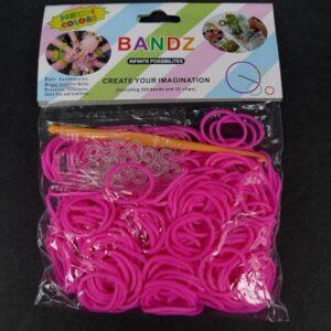 Hot pink elastikker m. låse og hæklenål