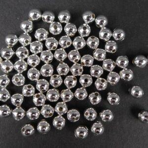 *Runde sølvfarvede perler 6mm(50stk)