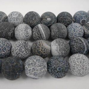 Agat sort/grå, krakelerede 12 mm
