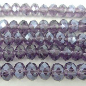 Facetterede krystalrondeller 4x6mm Lilla