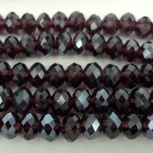 Facetterede krystalrondeller 4x6mm Granat