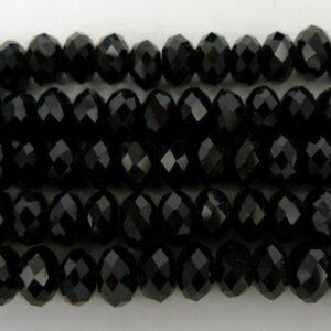 Facetterede krystalrondeller 4x6mm Sort