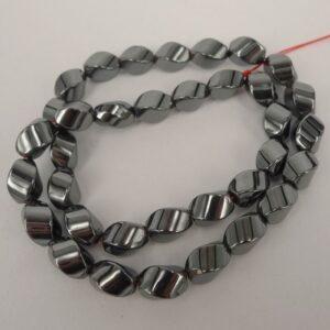 Twistede hæmatitperler 9½mm
