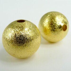 30 stk. Guldfarvede 'børstede' perler 6mm