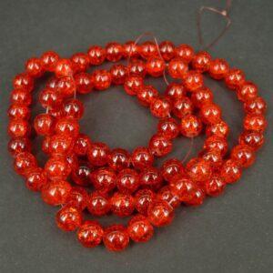 Krakelerede glasperler, Orangerøde 10mm.