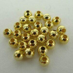 *50 gram Runde guldfarvede perler 3mm
