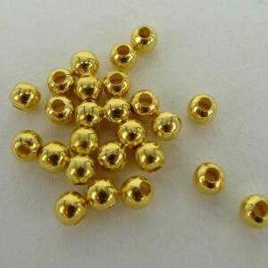 *50 gram Runde guldfarvede perler 4mm