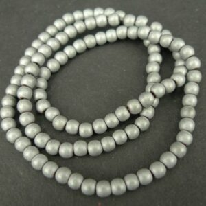 Runde, sølvgrå hæmatitperler 4mm