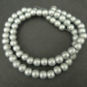 Runde, sølvgrå hæmatitperler 8mm