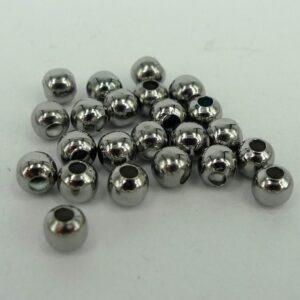 *50 gram Runde Grå perler 4mm