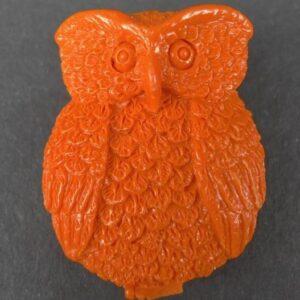 Orange ugle i resin (2.sortering)