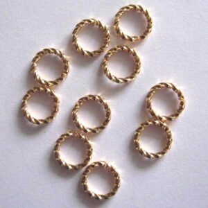 Snoede ringe forgyldte 6mm(20stk)