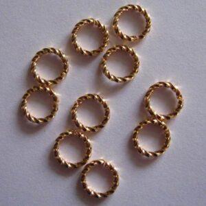 Snoede ringe forgyldte 8mm(20stk)