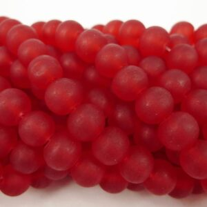 8mm Red frostede glasperler