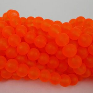 8mm Orange frostede glasperler