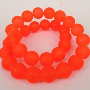 Rustikke 14mm Orange frostede glasperler