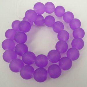 Rustikke 14mm Violet frostede glasperler