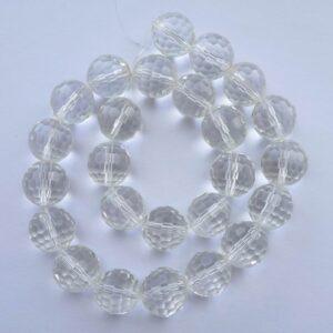 Multifacetterede glasperler 14mm, klare