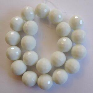 Facet glasperler 16mm, Alabaster hvid