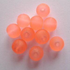 10stk. 10mm LightSalmon frostede glasperler