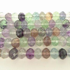 Facet rondeller i regnbue fluorit 5x8mm