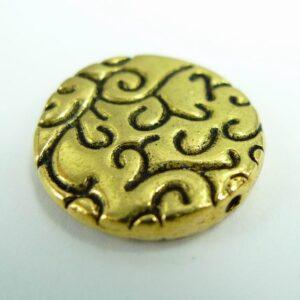 *10 Mønstret mønt, antik'guld' 20mm