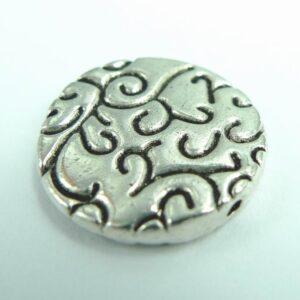 *10stk. Mønstret mønt, antik'sølv'20mm