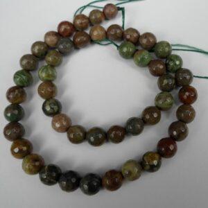 Facetteret, Grøn/Brun sten 8mm