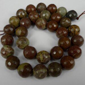 Facetteret, Grøn/Brun sten 12mm