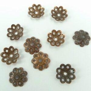 *Perlekapper kobberfarvet 10 mm (100stk)