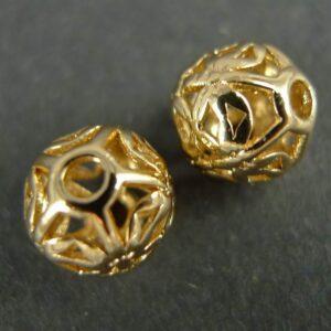 2 stk. forgyldte messing perler 10mm
