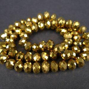 6x8mm Gold Plated glasrondeller
