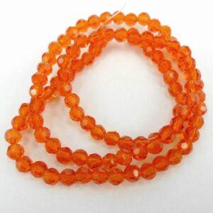 Facet glasperler 4mm, Dark Orange