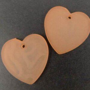 Hjerter i acryl Lys orange(10stk)
