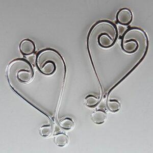 FS hjerte chandeliers 13x26mm(2stk)