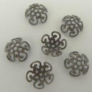 Grå perlekapper, swirl 10mm(10stk)