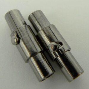 Grå magnetlåse/bajonetlåse 3mm(2stk)