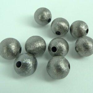 Grå 'børstede' perler 12mm (10stk)