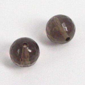 Facetterede perler i røgkvarts 10mm(2stk)