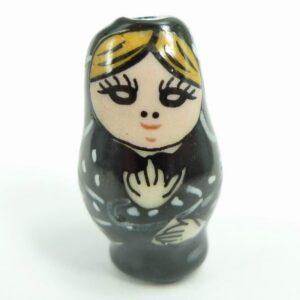 Babushka perle i keramik, sort(1stk)