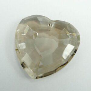 Krystal hjerte, røggrå 32mm