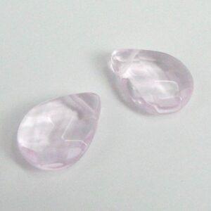 Lyse pink glasdråber (2stk.)