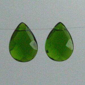 Olivengrønne glasdråber (2stk.)