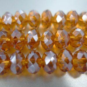 Facetterede krystalrondeller 4x6mm gylden