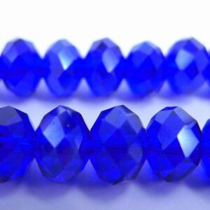 Facetterede krystalrondeller 6x8mm Blå