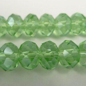 Facetterede krystalrondeller 6x8mm Peridot