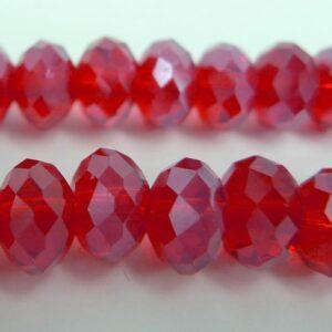 Facetterede krystalrondeller 6x8mm Rød