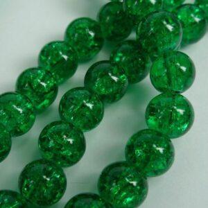 Krakelerede glasperler, grønne 8mm.