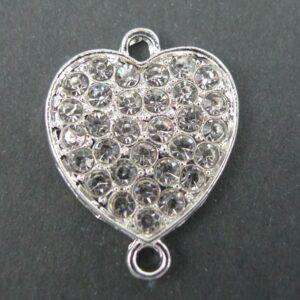 1 stk. SF hjerteformet mellemled med rhinsten
