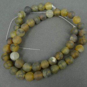 Agat, krakelerede gulgrønne 8mm